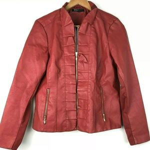 Baccini Red Leather Jacket PL Ruffled Zippers